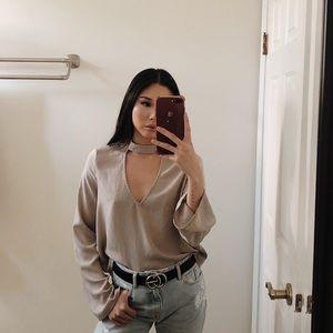 TOBI choker silk blouse